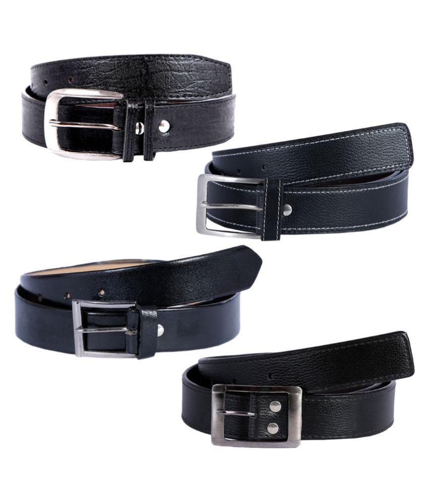 Kritika World Black Casual Belt for Men - Pack of 4