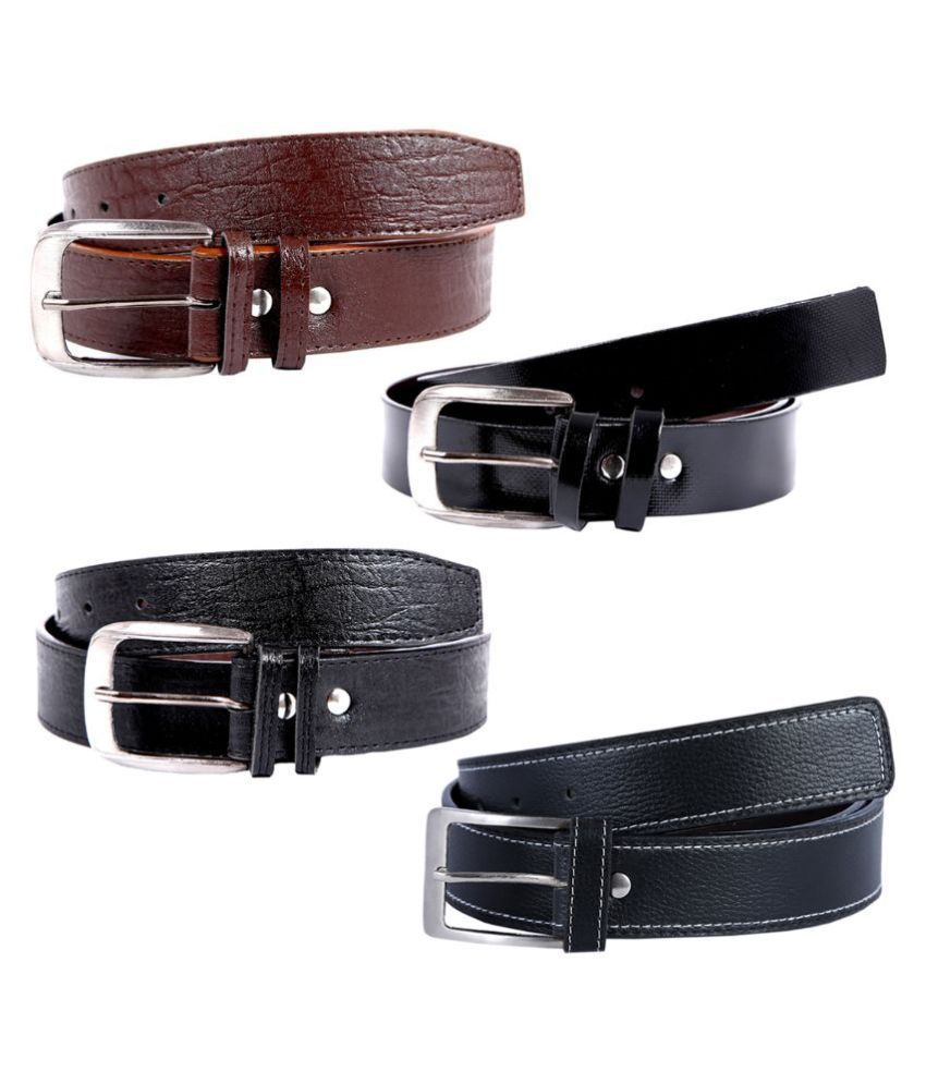 Kritika World Multicolour Casual Belt for Men - Pack of 4