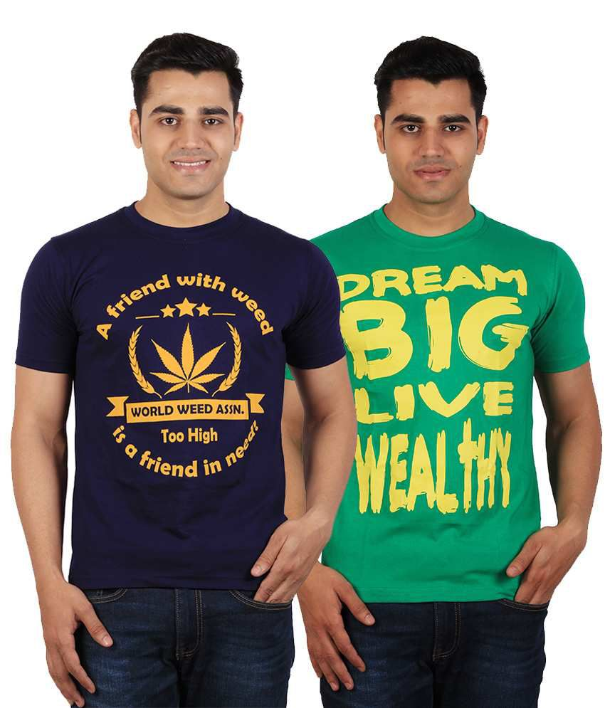 Tymstyle Navy Weed in need & Dream big Printed Cotton Round Neck Half Sleeves T-Shirts - Pack of 2