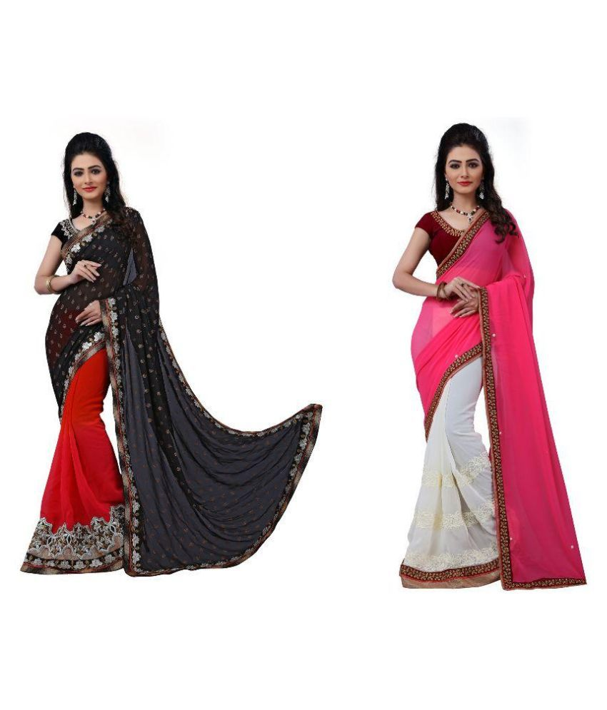 MK Ethnic Multicoloured Chiffon Saree Combos