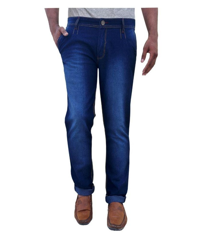 White Pelican Blue Slim Fit Solid Jeans