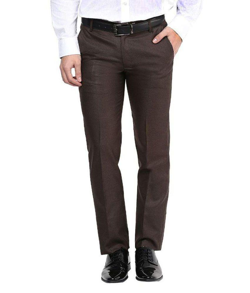 Bukkl Brown Slim -Fit Flat Trousers