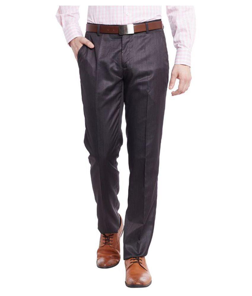 Jogur Brown Regular Fit Flat Trousers