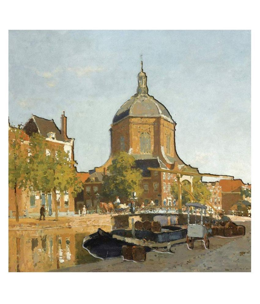 LaaNeo Cornelis Vreedenburgh Figures on a Canal Near The Marekerk Leiden Digital UV Canvas Embossed Painting without Frame