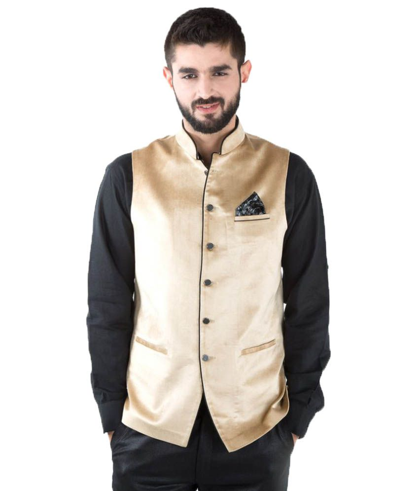 Jahanpanah Beige Festive Waistcoats