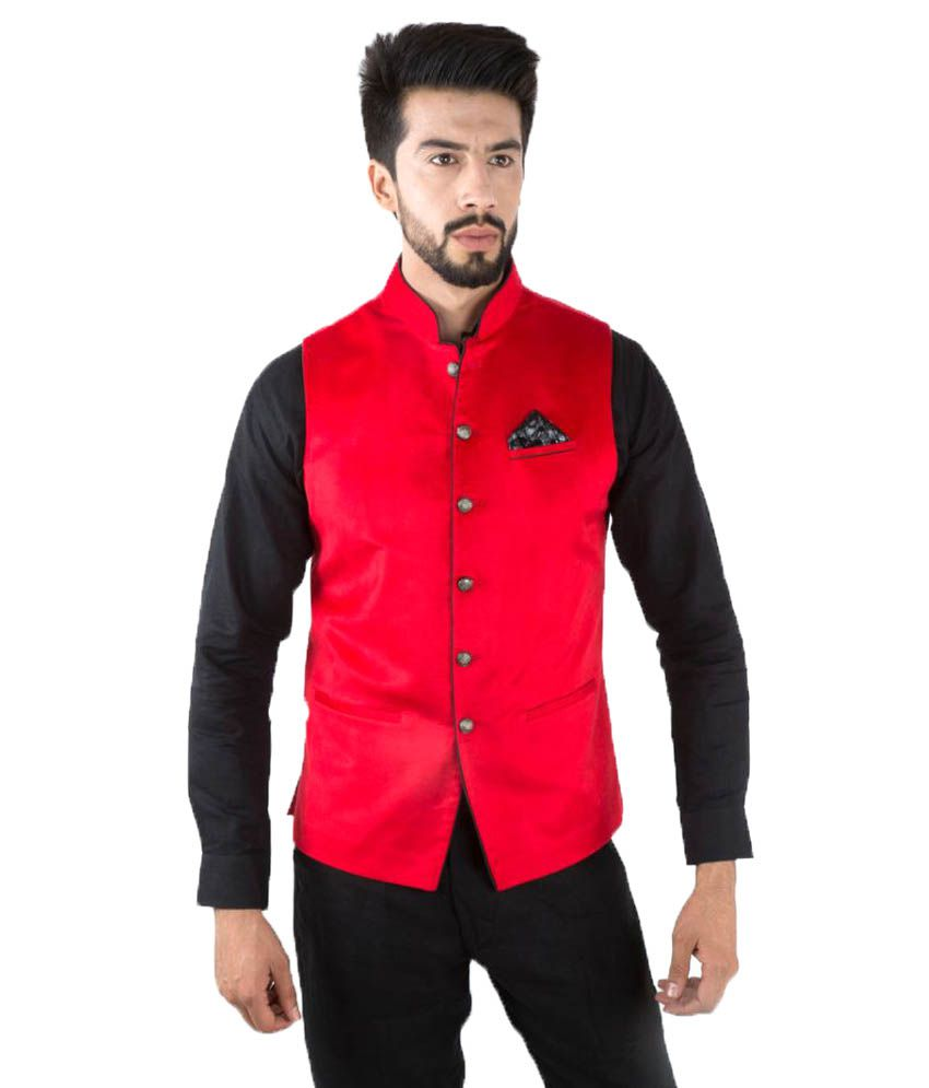 Jahanpanah Red Festive Waistcoats