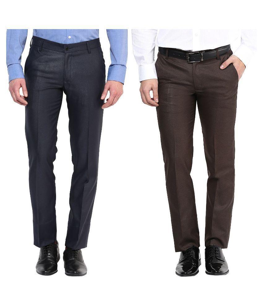 Bukkl Multi Slim Fit Flat Trousers Pack of 2