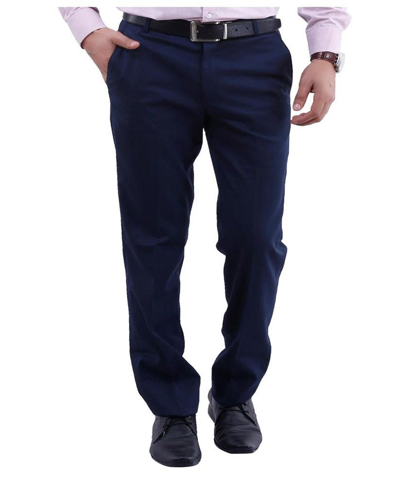 La Mode Navy Slim Fit Chinos