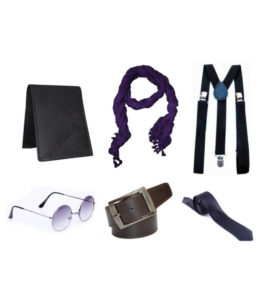 Winsome Deal Non Leather Belt with Wallet , Scarf , 2 Sunglasses , Suspender & Tie
