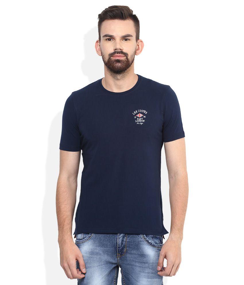 Lee Cooper Navy Blue Solid Regular Fit T-Shirt