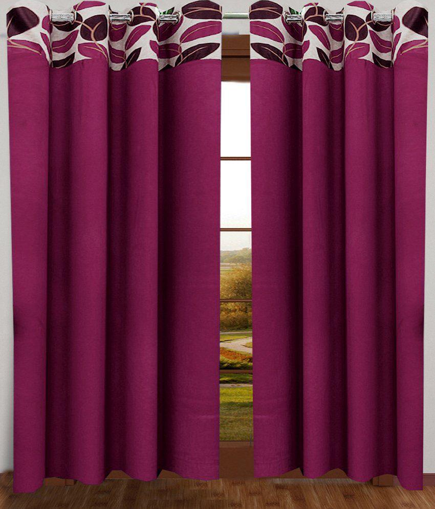Homefab India Set of 2 Window Eyelet Curtains Solid Purple