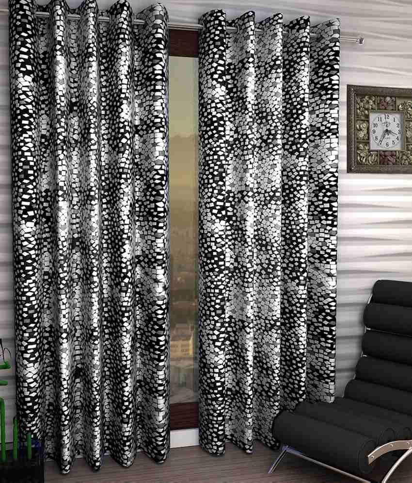 Homefab India Set of 2 Window Eyelet Curtains Geometrical Black&White