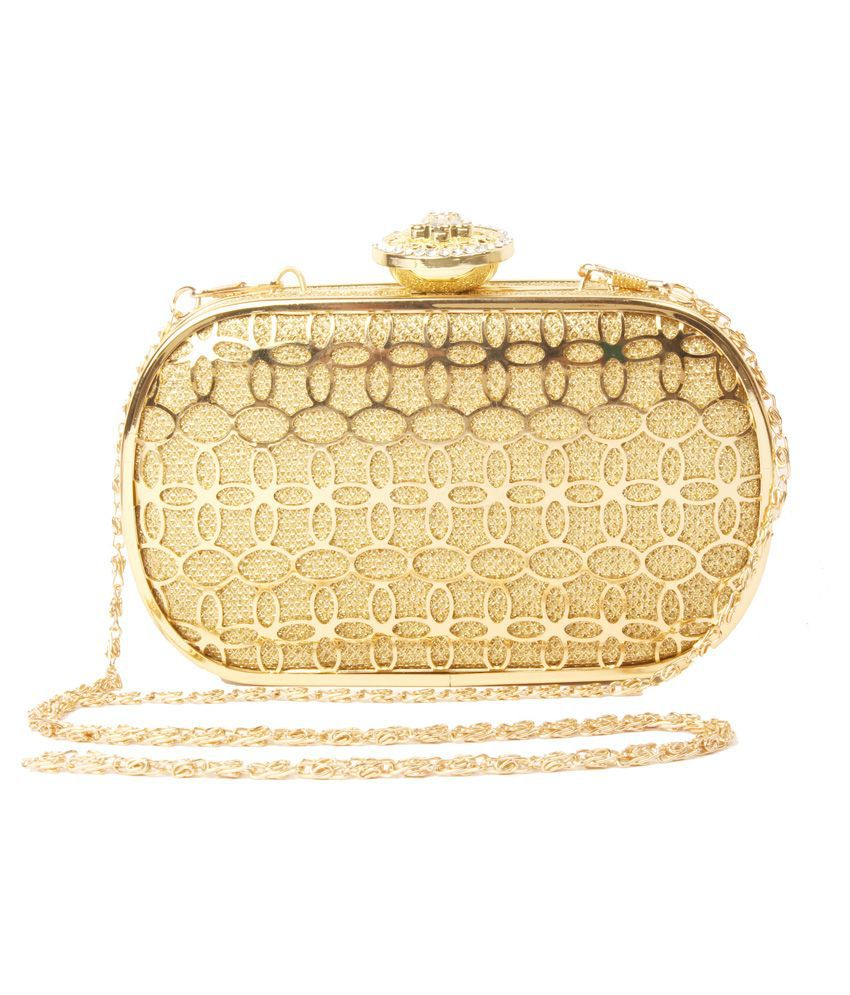 Foot Candy Gold Metal Box Clutch