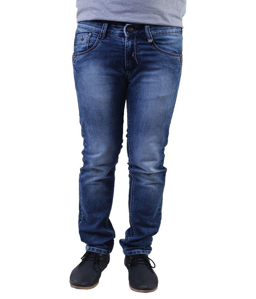 Lee Marc Blue Regular Fit Washed Jeans
