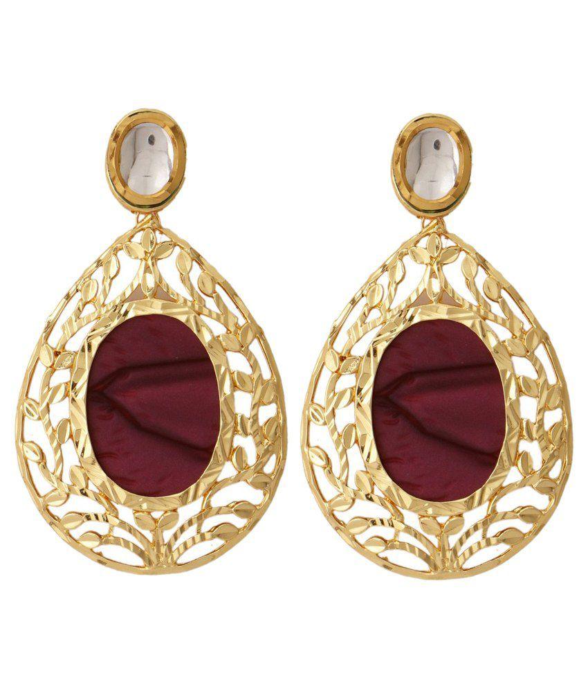 The Jewelbox kundan/Meenakari Studded Gold Earrings