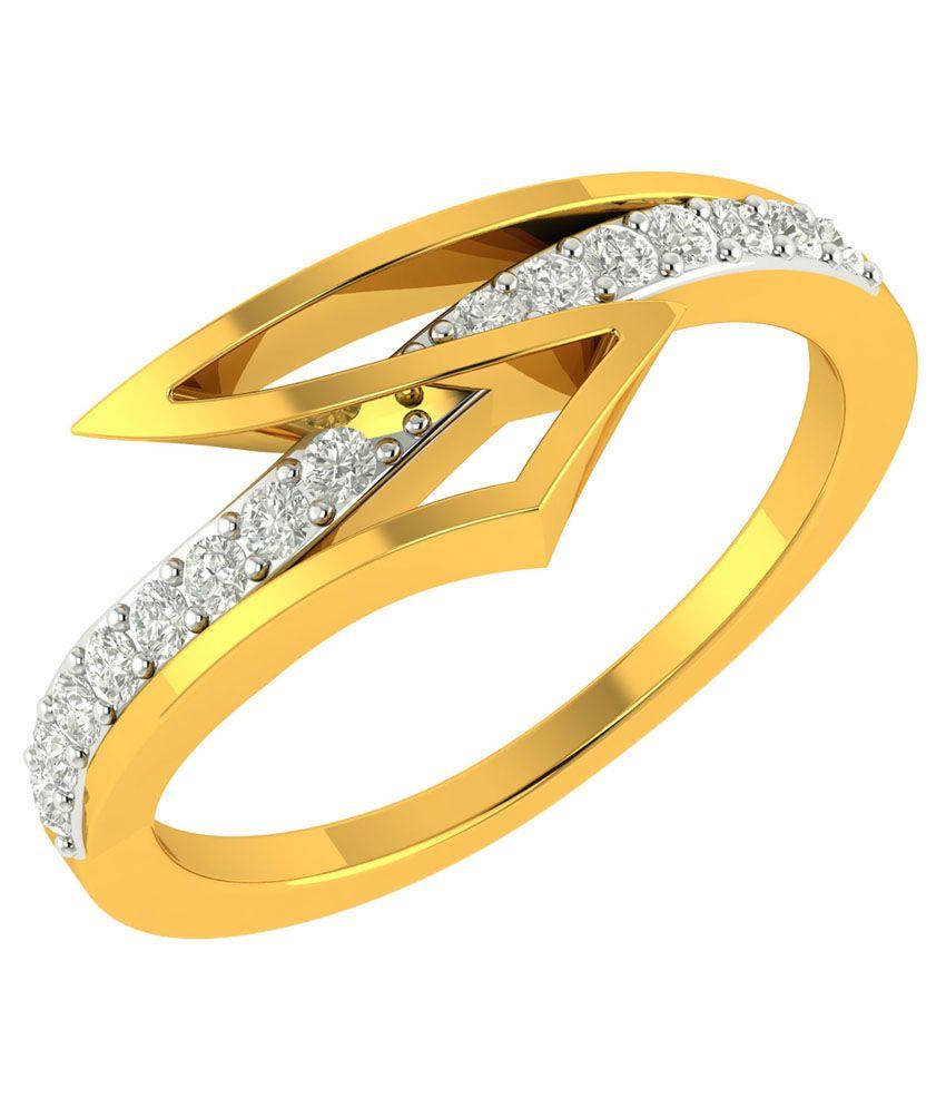 Charu Jewels 18Kt BIS Hallmarked Yellow Gold Diamond Ring