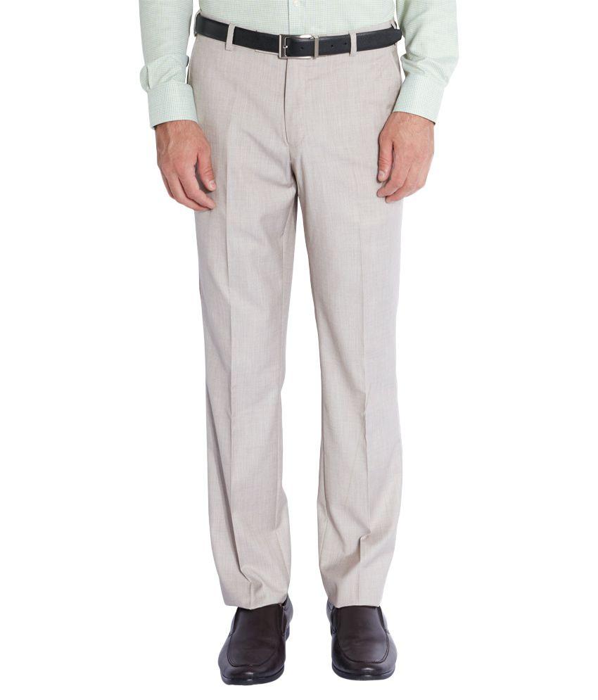 Park Avenue Beige Regular Fit Flat Trousers