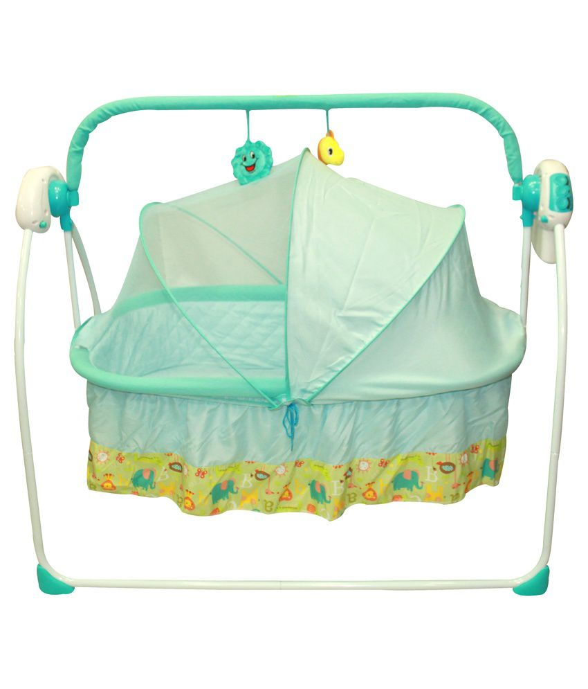 Imported Automatic Swinging Cradle with Music - Blue