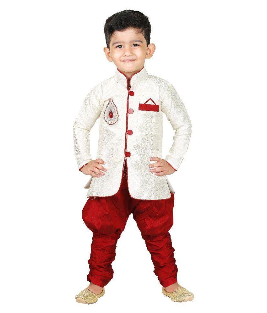 Ftcbazar White Silk Indo Western Dress For Boys Buy Ftcbazar White