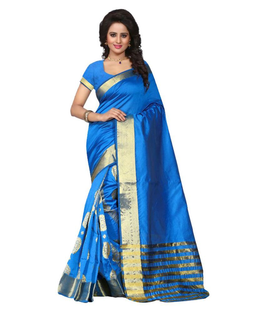 Fashionesta Blue Cotton Silk Saree