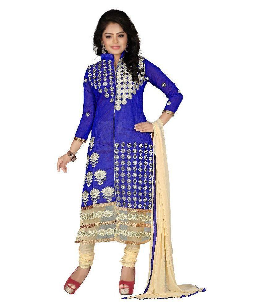 Finivo Fashion Purple Cotton Straight Unstitched Dress Material