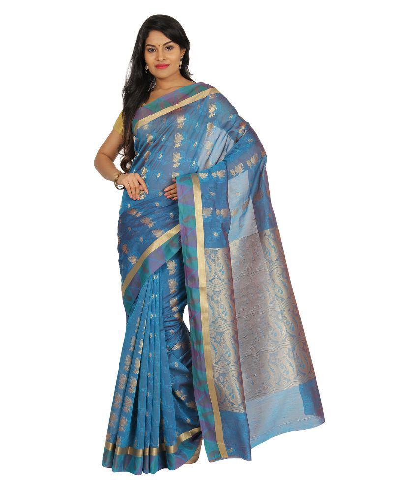 Pratami Blue Cotton Silk Saree