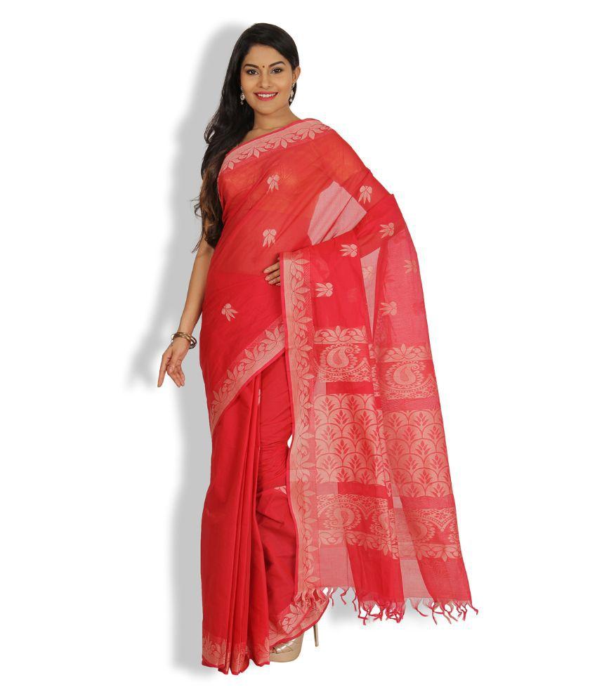 Pratami Pink Cotton Saree