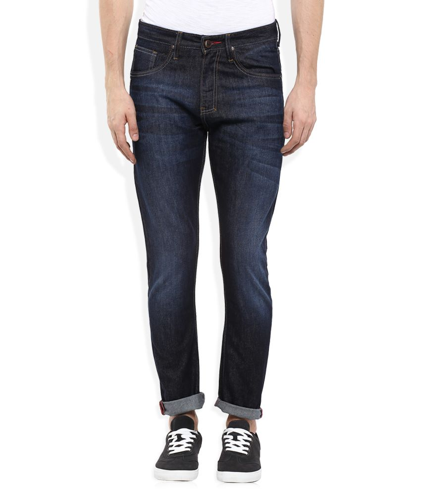 Indigo Nation Blue Slim Fit Solid Jeans
