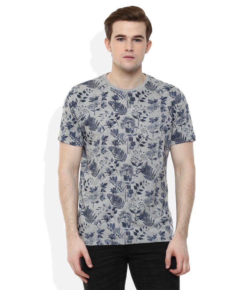 Lee Cooper Grey Printed Regular Fit T-Shirt