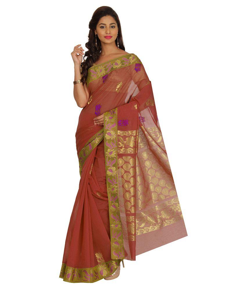 Platinaa Brown Cotton Silk Saree