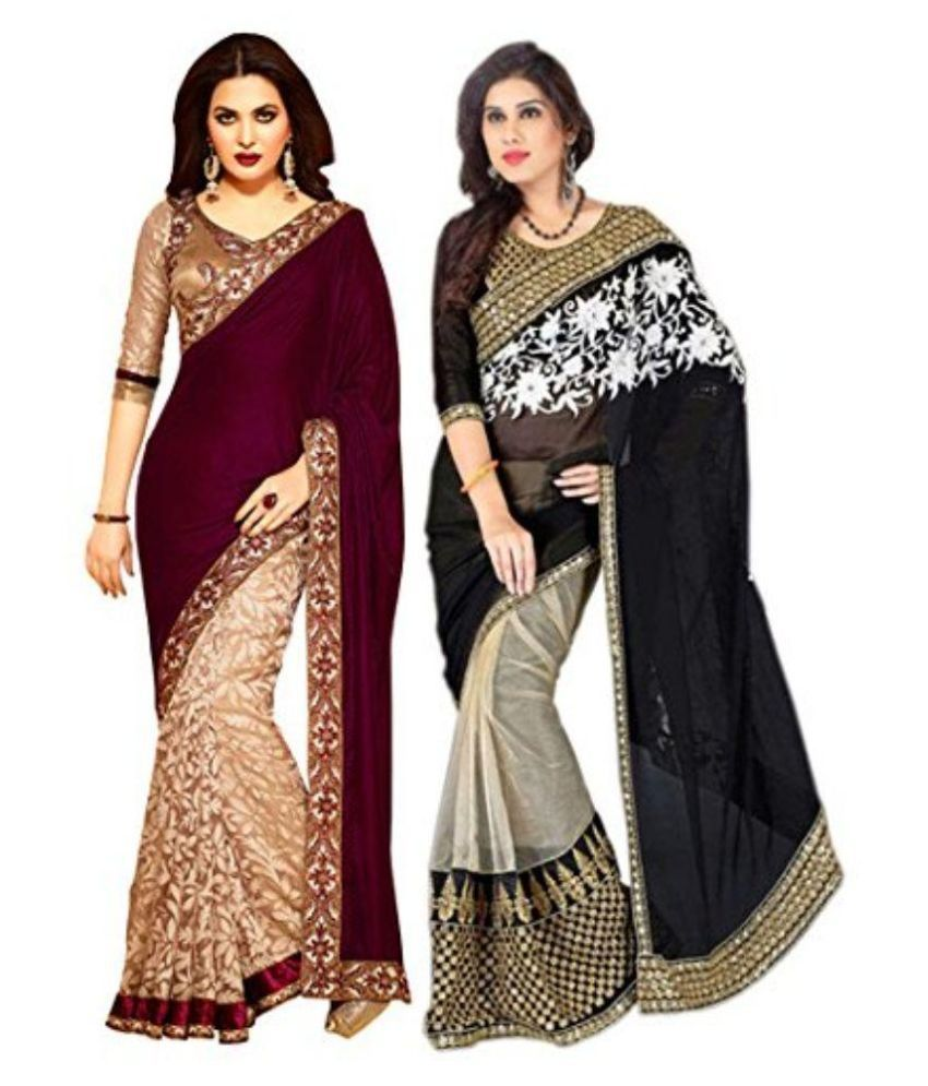 Shree Mira Impex Multicoloured Georgette Saree Combos