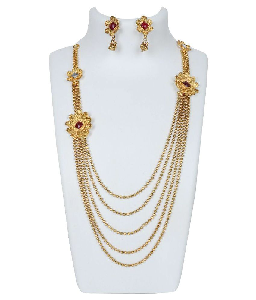 necklace gold jewelsmart exclusive online long beads design pendant haram peacock imitation nakshi jewellery