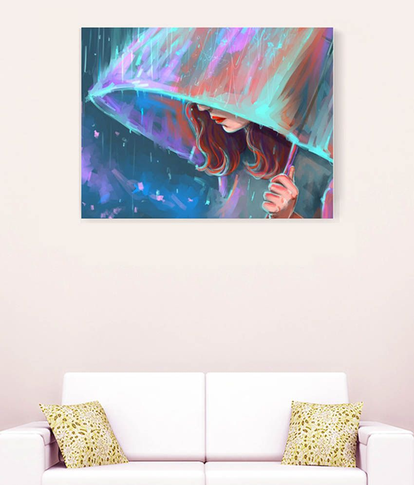 Sky Trends Alone Girl In Rain With Ambrella Canvas Painting