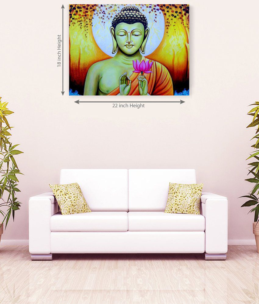 Sky Trends Lord Buddha With Hand In Flower Colorful Canvas Painting
