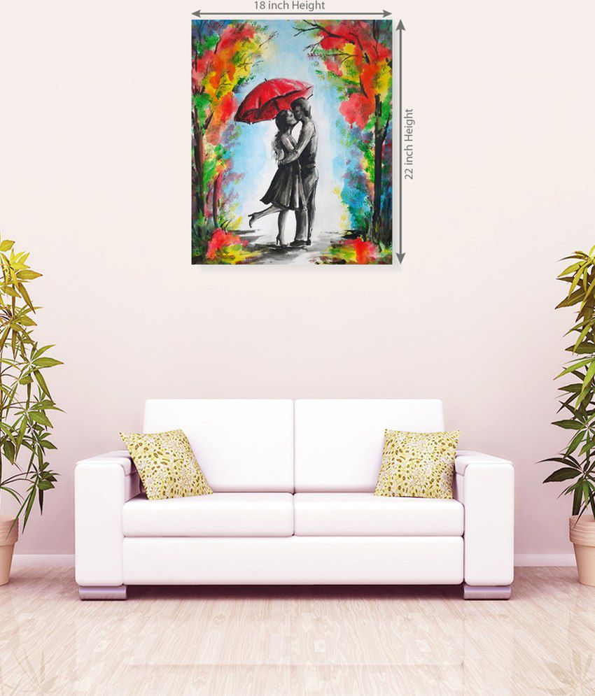Sky Trends Stylish Romantic Couple Floral Attractive Romantic Canvas Painting