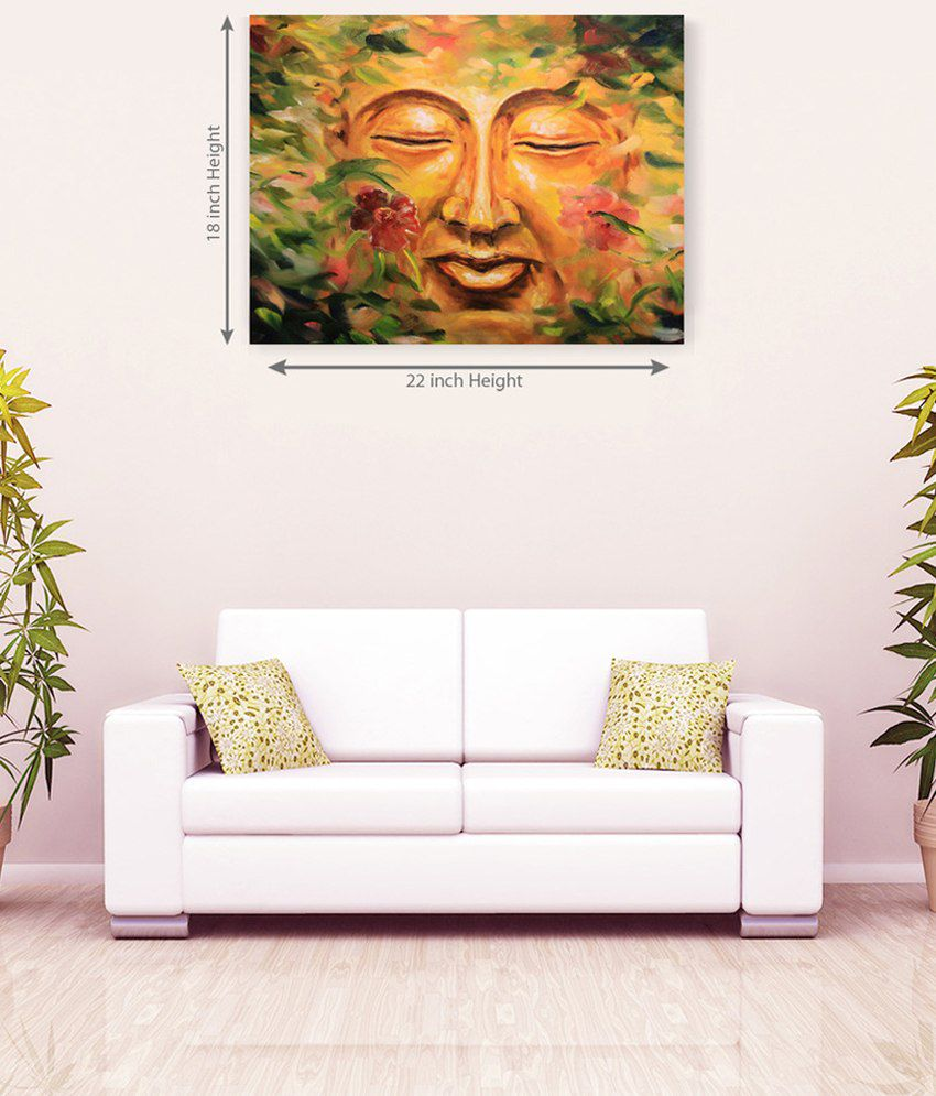 Sky Trends God Buddha Floral Multi Color Face Canvas Painting