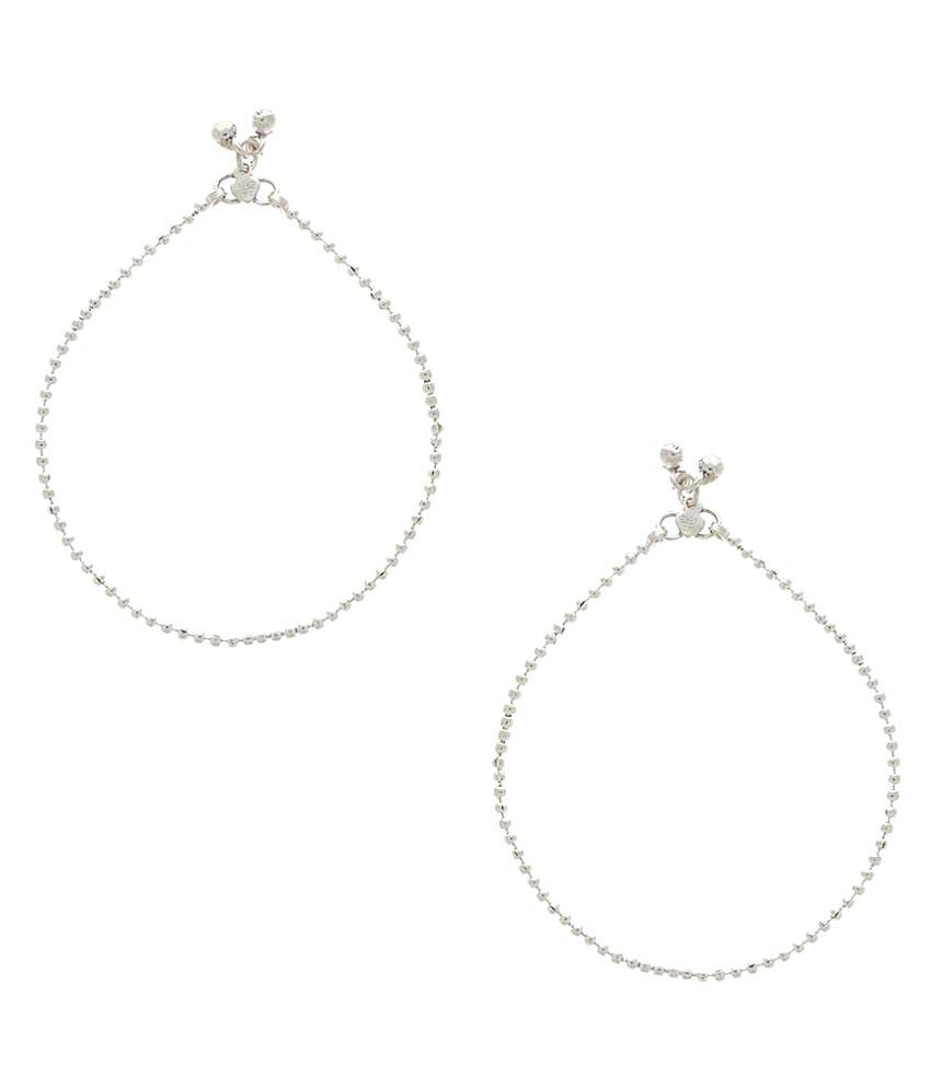 Anuradha Art Cubiz Zirconia Studded Silver Pair Of Anklets