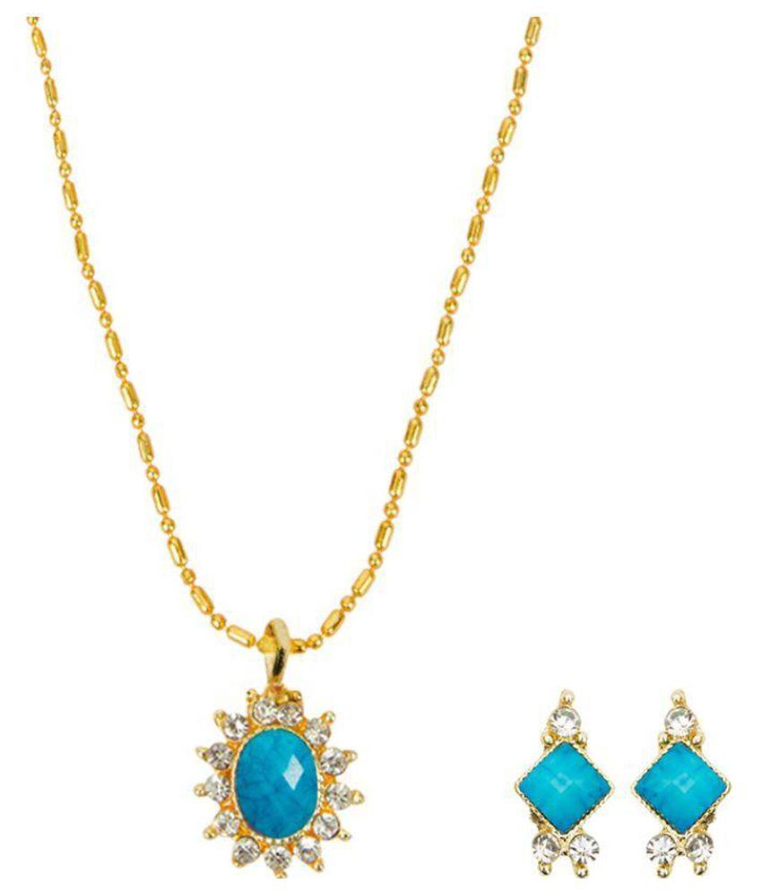 Dhamigo Sky Blue Golden Necklace Earring Set