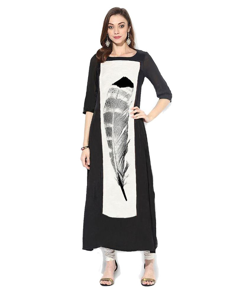 Ethnic For You Black Georgette Straight Kurti