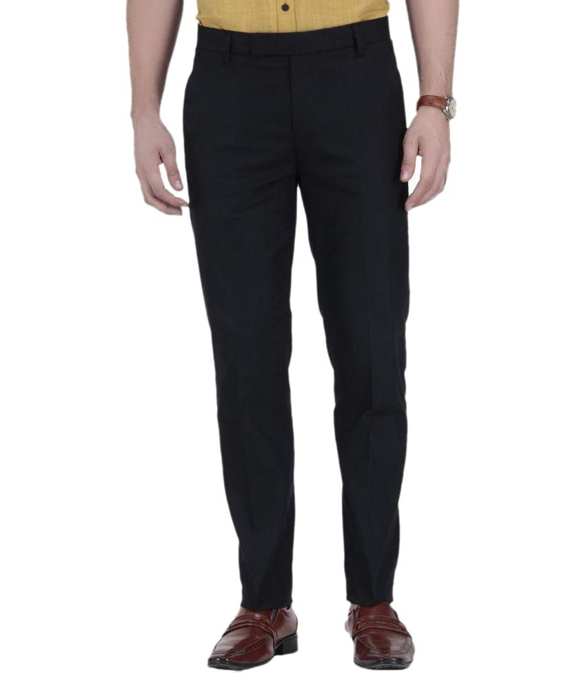Febulous Black Regular Fit Flat Trousers