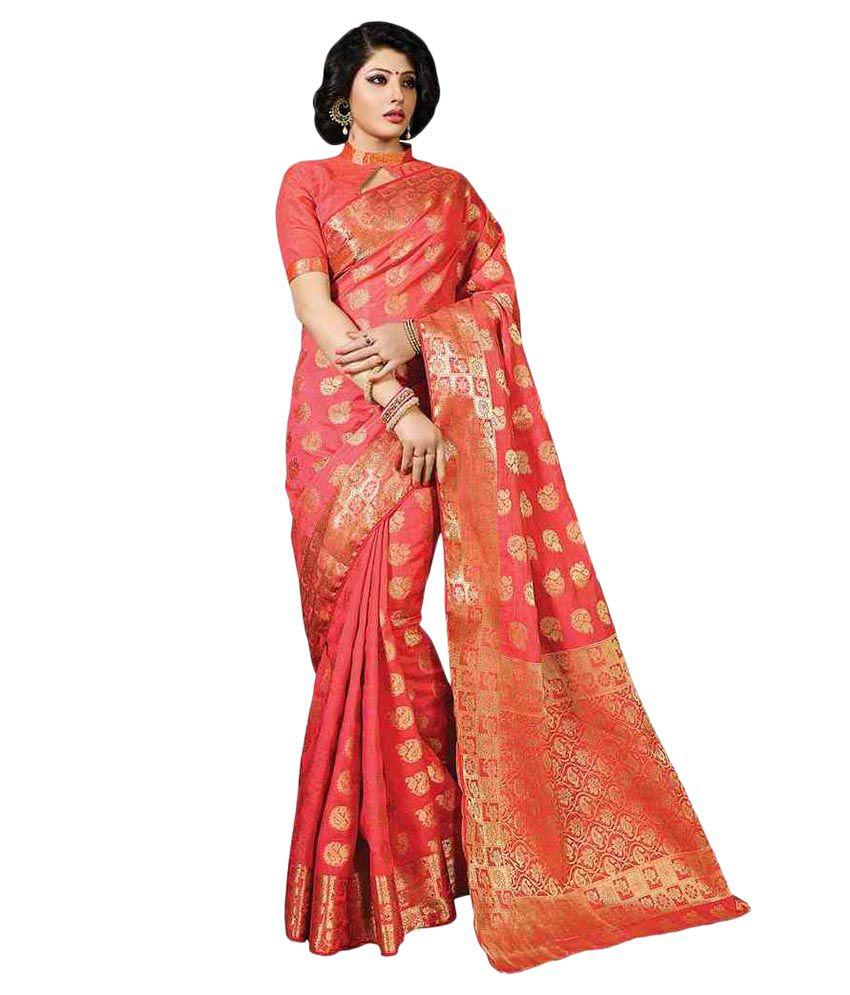Meghdoot Orange Tussar Silk Saree
