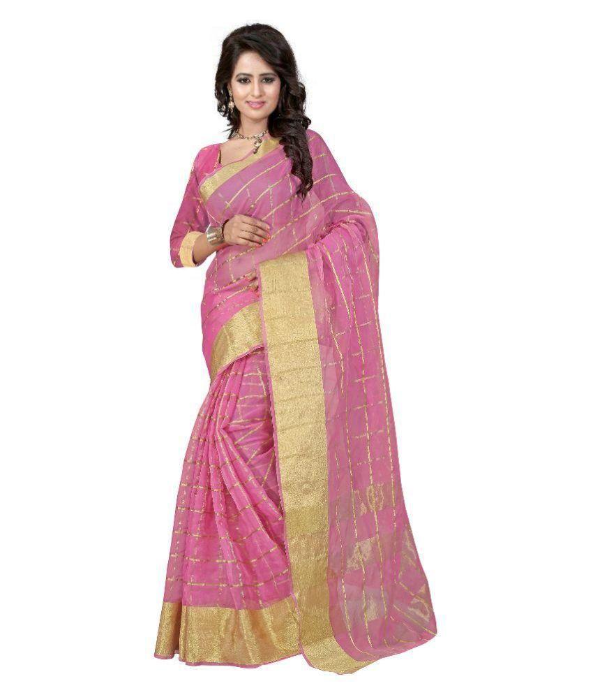Moxa Fashion Pink Art Silk Saree