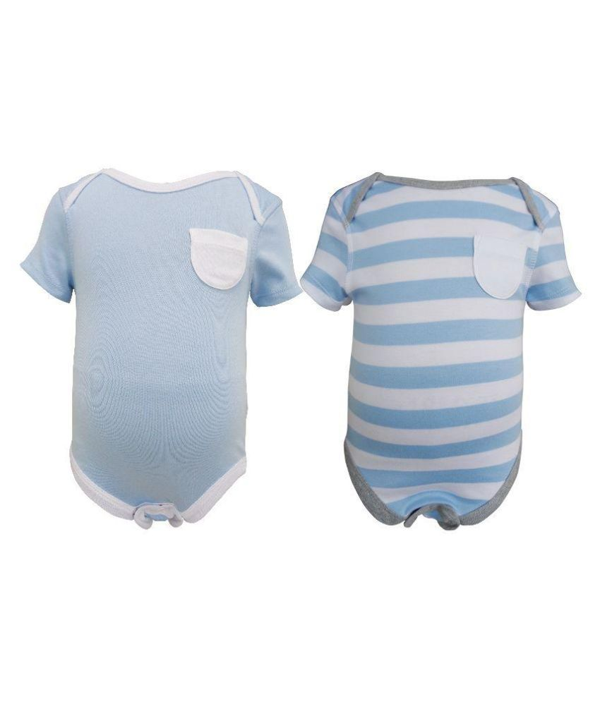 Teddy's Choice Blue Cotton Body Suit - Pack of 2