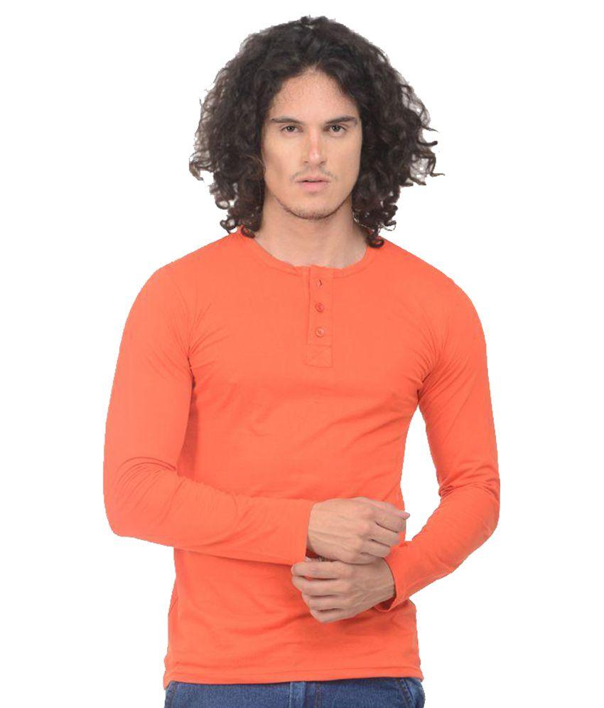 VS Fashion Orange Henley T Shirt