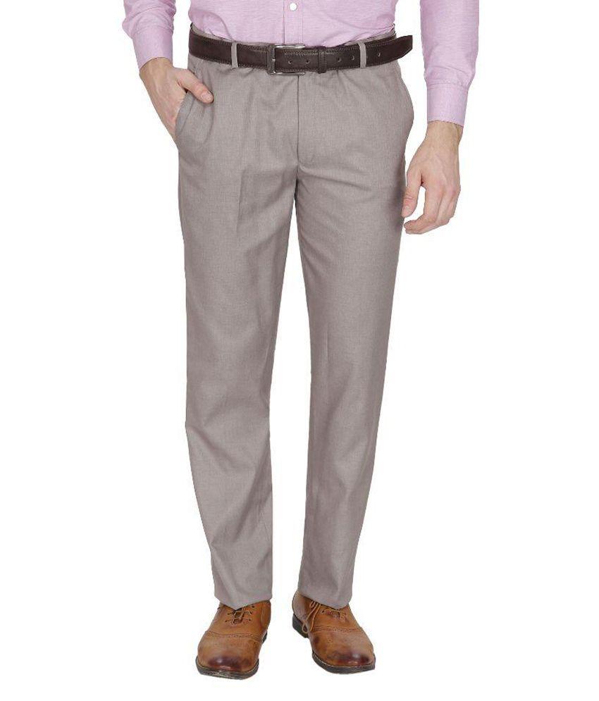 Frankline Beige Regular Fit Flat Trousers