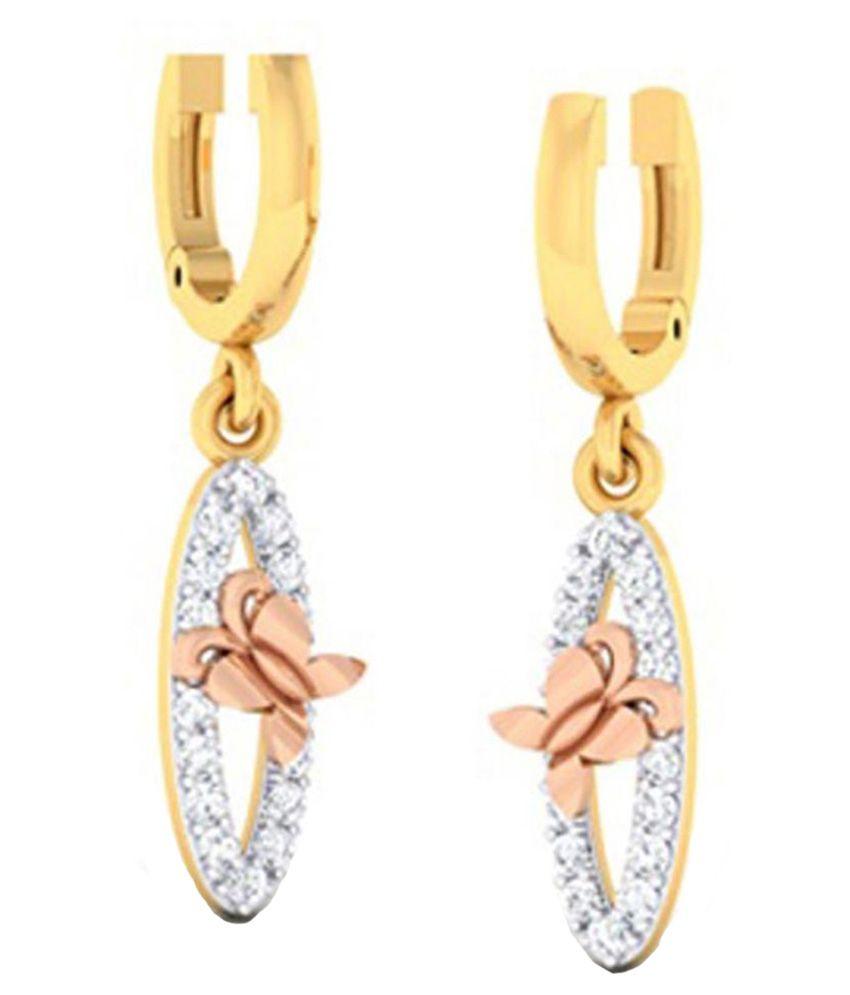 Amantran Jewels 14Kt BIS Hallmarked Gold Diamond Drops