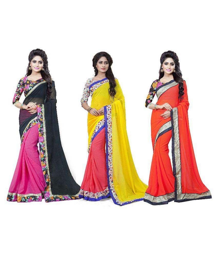 Aai Shree Khodiyar Art Multicoloured Georgette Saree Combos