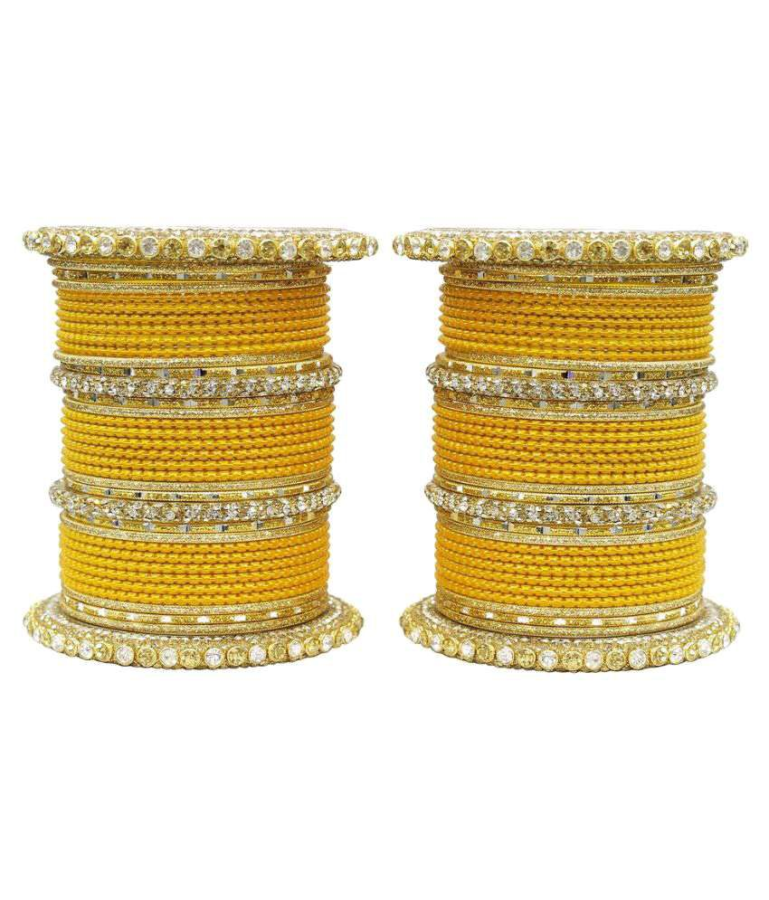 Much More Yellow Alloy Bangle Set