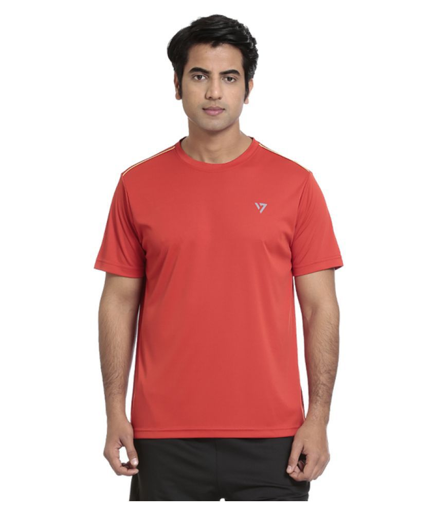 Seven Red Polyster T Shirt For Men