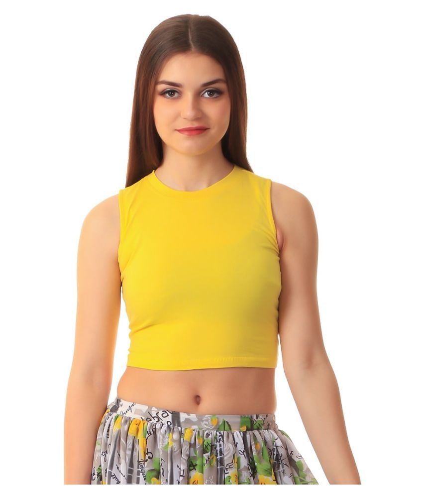567a410d09a Scorpius Yellow Cotton Crop Tops - Buy Scorpius Yellow Cotton Crop Tops  Online at Best Prices in India on Snapdeal